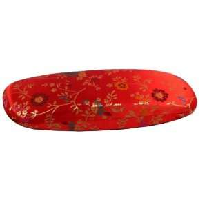 Chinese Red Flowered Satin Glasses Case