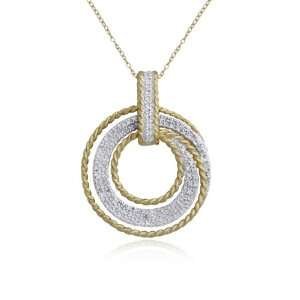 Plated Sterling Silver Diamond Accent Circle Pendant, 18 Jewelry