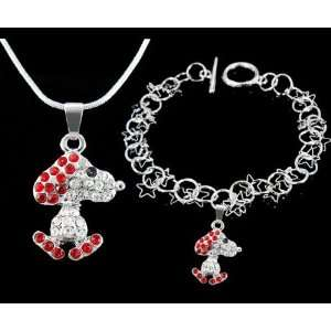 Jewelry ~ Red and Clear Crystals Snoopy Necklace and Bracelet Jewelry