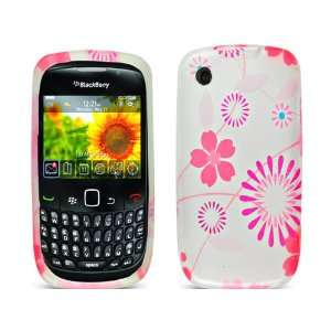 Pink Flowers White TPU Ice Candy Skin Soft Gel Rubber Case