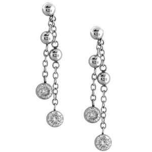 Inox Jewelry 316L Stainless Steel cz Drop Earrings Jewelry