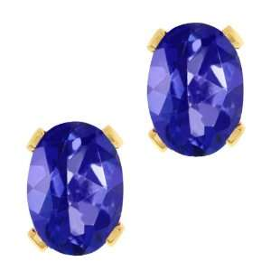 Tanzanite Blue Mystic Topaz Gold Plated Silver Stud Earrings Jewelry