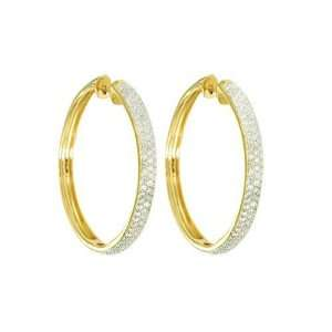 14k Yellow Gold Round Pave Diamond Hoop Earrings (3/4 cttw, I J Color