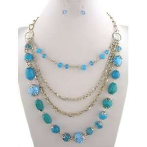 Fashion Jewelry ~ Turquoise Blue Beads 4 Layers Silvertone Necklace