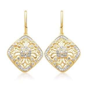 10k Yellow Gold Diamond Antique Style Dangle Earrings (1/2