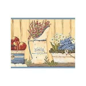 Country Chic Apples and Pitchers Wallpaper Border