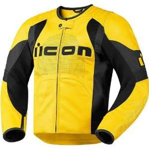 Mens Leather On Road Motorcycle Jacket   Yellow / X Large Automotive