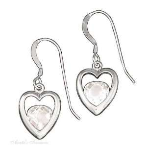 Silver 12mm Open Heart Dangle Earrings Cubic Zirconia Inside The Heart