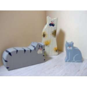 3 Small Wooden Cats