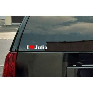 I Love Julia Vinyl Decal   White with a red heart Automotive