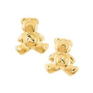 14K Yellow Gold Teddy Bear Childrens Earrings Katarina