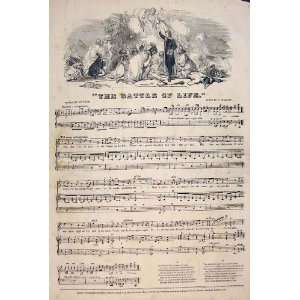 Battle Life Song Music Score Lynn Guylott Print 1847: Home