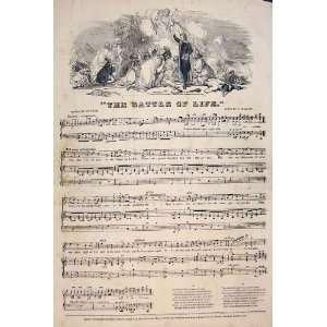 Battle Life Song Music Score Lynn Guylott Print 1847: Home
