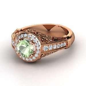 Primrose Ring, Round Green Amethyst 14K Rose Gold Ring