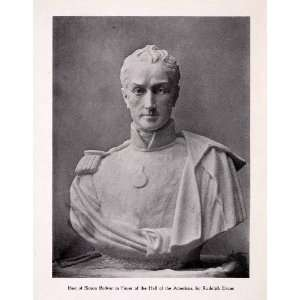 1911 Print Bust Sculpture Simon Bolivar Foyer Hall Americas Rudolph