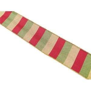 Christmas Holiday Wedding Red/Green/Gold Stripe Ribbon 2.5 x 60 Yards
