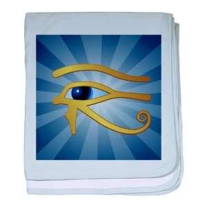 Baby Blanket Sky Blue Gold Eye of Horus