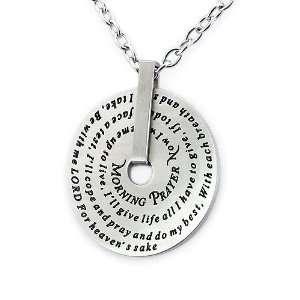 Stainless Steel Morning Prayer Disc Pendant Jewelry