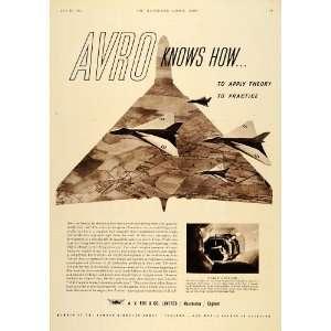 1955 Ad Avro Vulcan Fighter Jet A. V. Roe Wind Tunnel   Original Print