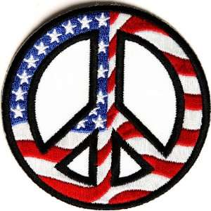 Peace Patch with American Flag Embroidered, 3x3 inch, small