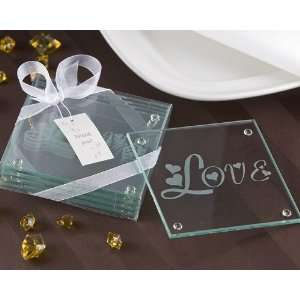 Hearts in Love Glass Coaster (Set of 4) Kitchen