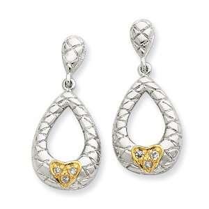 Cross Cut Design w/ Gold Plated Heart & CZ Teardrop Post Da Jewelry