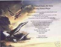 US AIR FORCE SECURITY FORCE POEM PERSONALIZED PRAYER ~