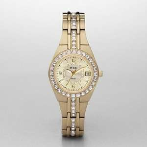 LADIES GOLD GLITZ CRYSTAL RELIC BY FOSSIL WATCH NIB NR