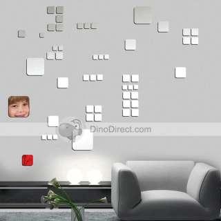 Shining Square Shape Mirror Home Decor Wall Sticker   DinoDirect