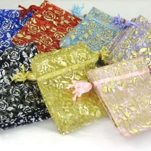 10 MEDIUM (10cm x 12cm) B&GD Organza Gift Bags   Lilac (Gold Roses