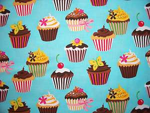 CUP CAKES DESSERT BLUE COTTON FABRIC OOP