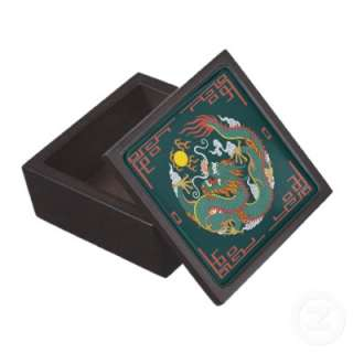 Chinese Dragon with Red Border Gift or Stash Box Premium Jewelry Boxes