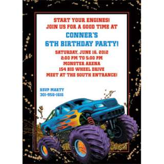 Monster Truck Personalized Invitations  Monster Truck Custom