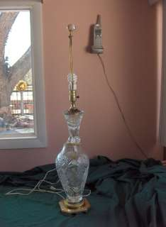 Vintage American Brilliant Crystal Table Lamp Brass