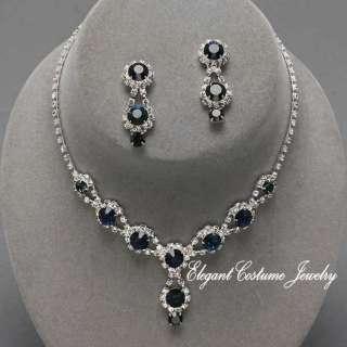 Bridesmaid Prom Crystal Necklace Set ~ Elegant & chunky jewelry