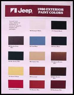 1980 AMC Jeep Color Paint Chips Brochure