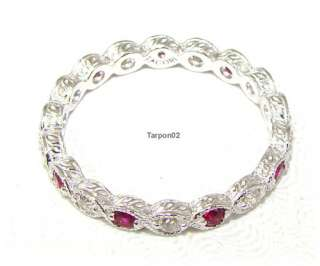 Tacori Diamonique Epiphany Ruby+Clear Eternity Ring 8 NWT ***SALE