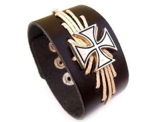 Black Leather Biker Maltese Iron Cross Bracelet A1