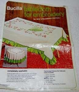 Bucilla Tablecloth 1975 Strawberry Festival Oval Stamped Cross Stitch