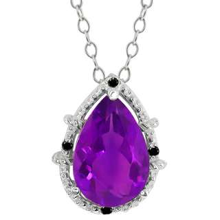 Pear Shape Purple Amethyst and Diamond Sterling Silver Pendant