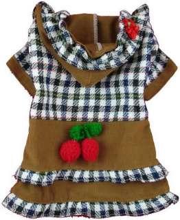 Dog Apparel CM026 Dress Shirt Skirt Pet Clothes CHERRY