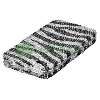 Black Zebra Bling Diamond Case+2x Privacy Shield For iPhone 4 s 4s 4G