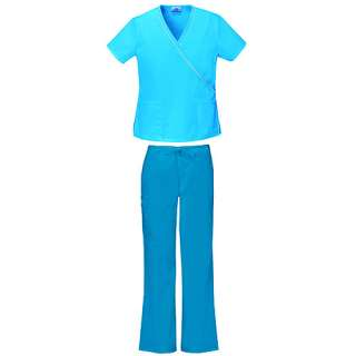 Turquoise Ribbon Trim Mock Wrap Top and Perfect Fit Cargo