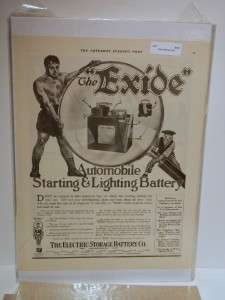 Vintage 1917 Exide Automobile Battery Electric Storage Co. Magazine Ad