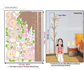 ANIMAL KIDS GROWTH CHART   VINYL ART WALL STICKER PAPER