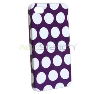 Purple w/ White Dot Back Case+Car Mount Holder+DC Charger For iPhone 4