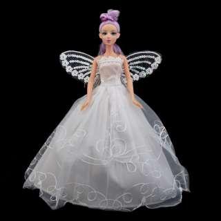 Beauty White Angel Wedding Dress Shawl For Barbie Doll