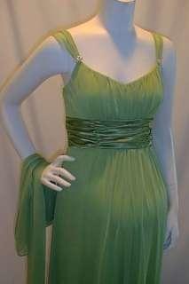 Long Formal Aqua Blue Satin Sash Maternity Dress