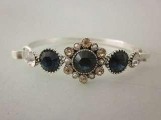 PILGRIM Blue Glass Crystal Flower Charm Silver Tone Bangle Bracelet
