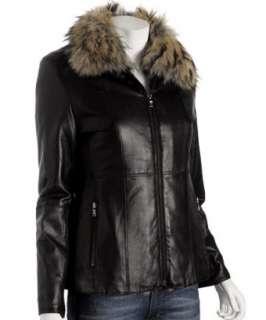 Andrew Marc black leather jacket with rabbit vest